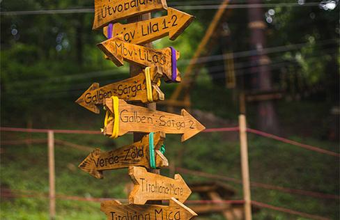 Parc Aventură Băile Tuşnad - indicatoare trasee